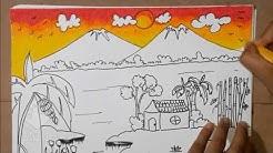 Cara Mewarnai Gradasi Dengan Crayon Pemandangan Sawah Gunung