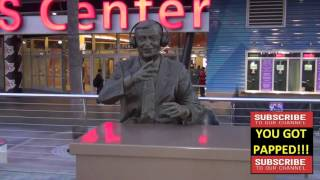 Chick Hearn statue outside Staples Center