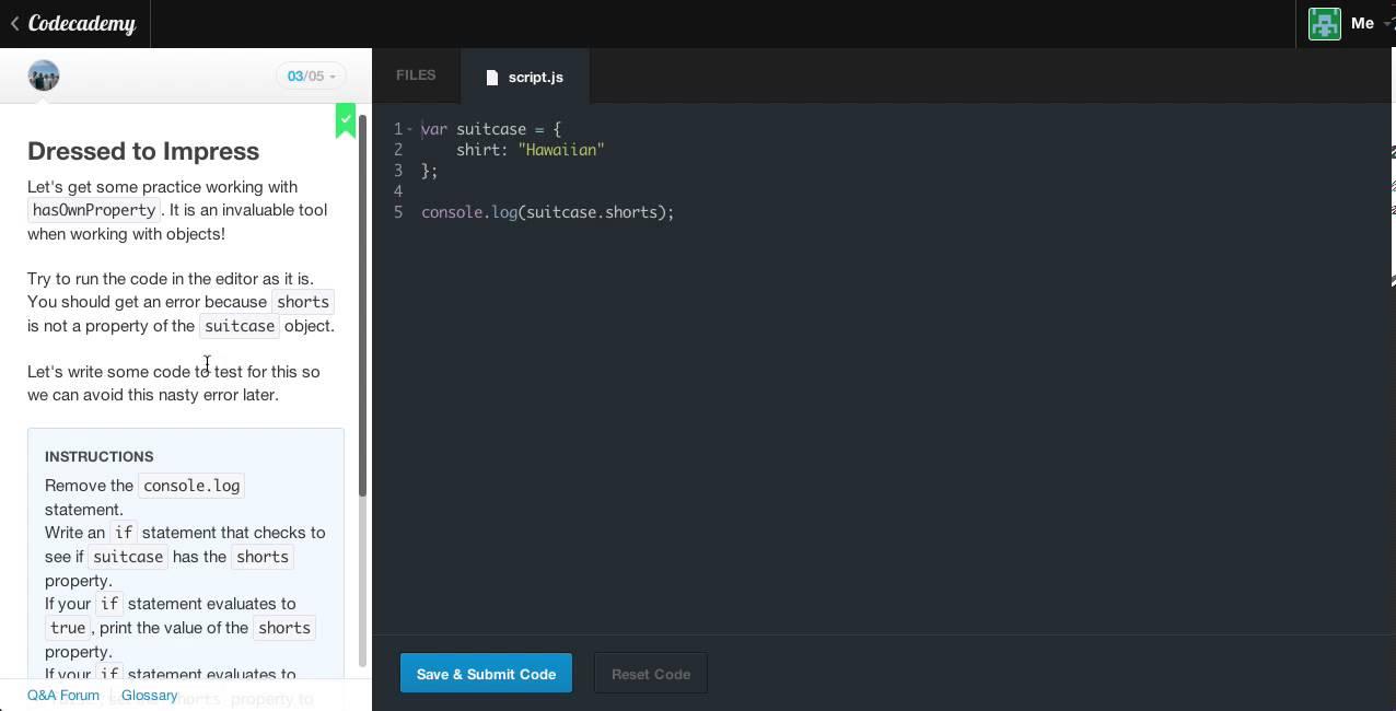 Codecademy : Javascript