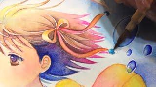Watercolor painting 金魚と少女 [水彩イラストメイキング]