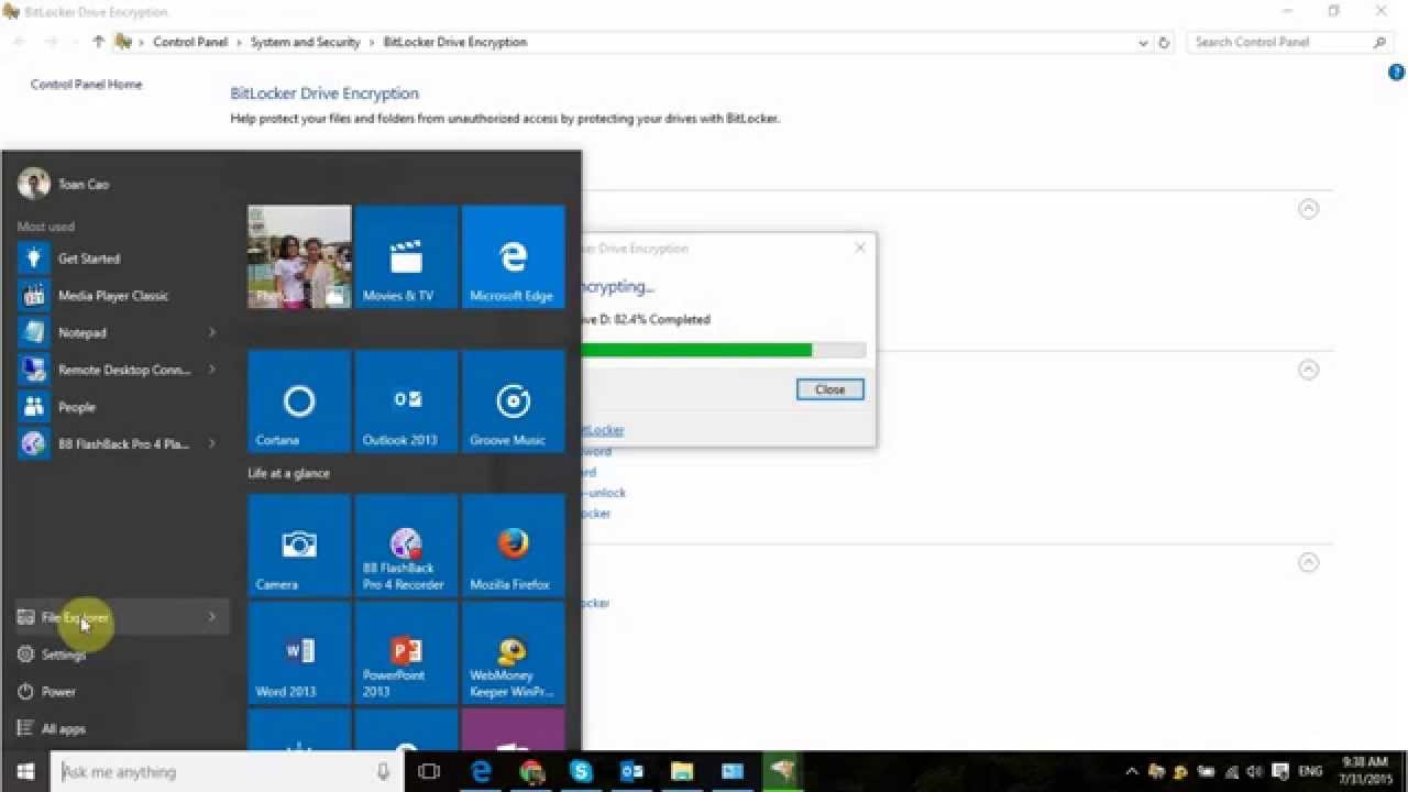 how to tell if bitlocker is enabled windows 10