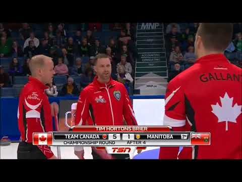 2018 Brier. Difficult split for 3 by Brad Gushue
