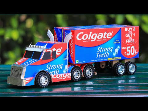 how-to-make-a-toy-truck-from-colgate-|-awesome-ideas