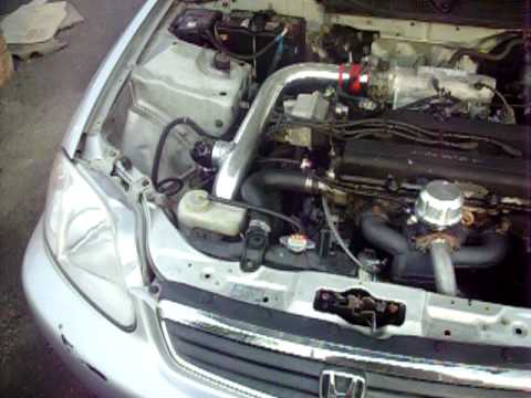 b18 turbo on 9psi- 5 speed converted. - YouTube