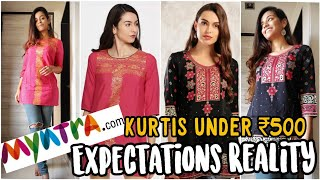 Try On haul kurti for office & college under 500 from Myntra   Republic day sale   Unboxing & Review