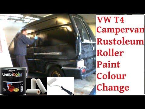 Roller Painting VW T4 Rustoleum Combi-Colour Gloss Black - VW Rustoleum Roller Colour Change