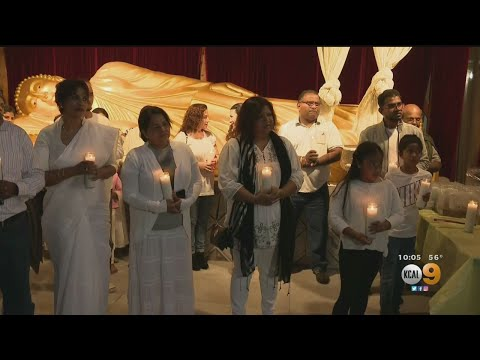 Sri Lankan-Americans Hold Candlelight Vigil At Buddhist Temple In Los Angeles