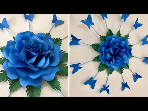 PAPER FLOWER WALL HANGING | PAPER ROSE FLOWER CRAFT| PAPER ROSE WALL CRAFT