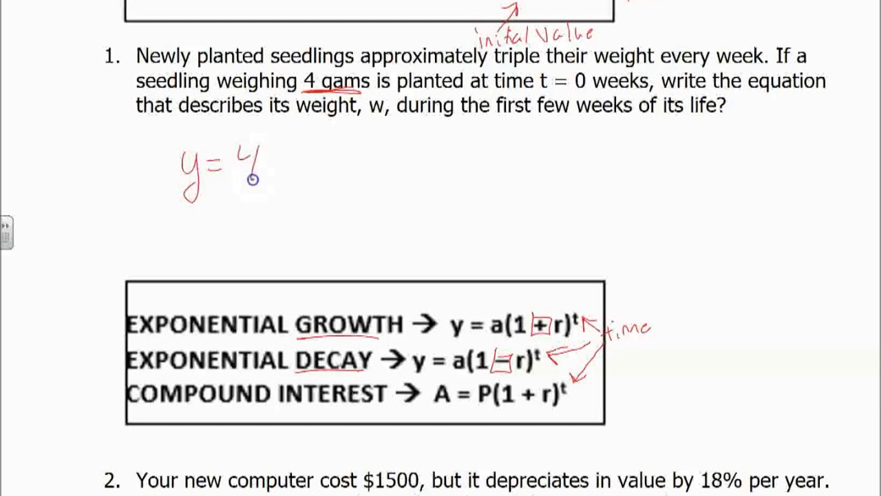 how to write exponential equation from a word problem
