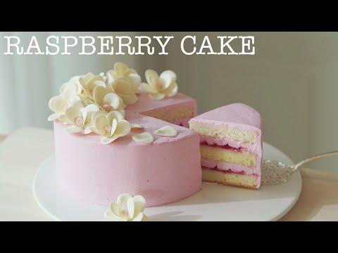 안정적인 라즈베리 생크림케이크와 초콜릿 꽃 /Raspberry Cake 🌸Chocolate Cherry blossom.