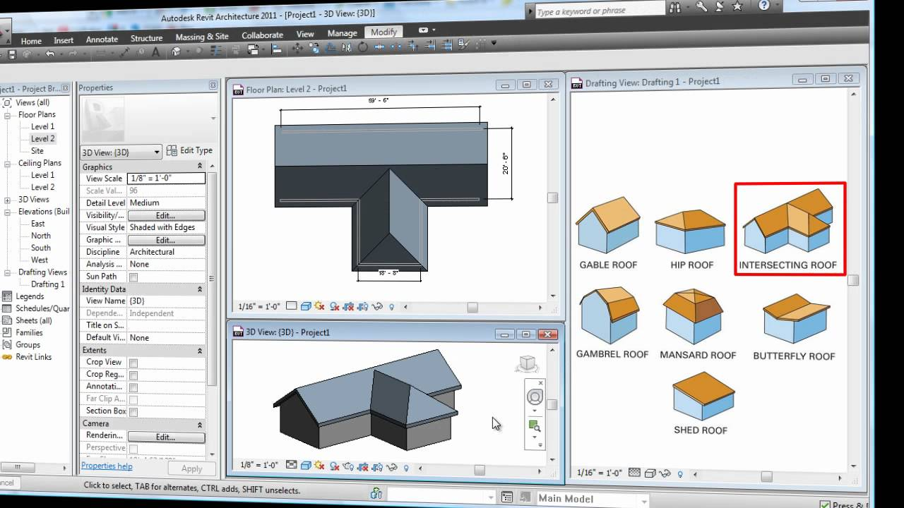 Revit Roof Basics 04 Intersect By Roof Join Cadclips