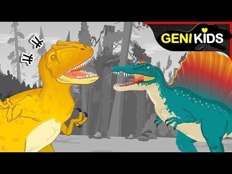 [공룡대전] 백악기 시대 공룡! 카르카로돈토사우루스 vs 스피노사우루스 | 육식공룡 대결★지니키즈