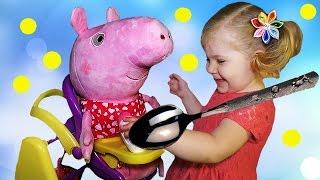 ? СВИНКА ПЕППА Коляска для Кукол Стульчик для кормления Супер Набор Peppa Pig for dolls unboxing