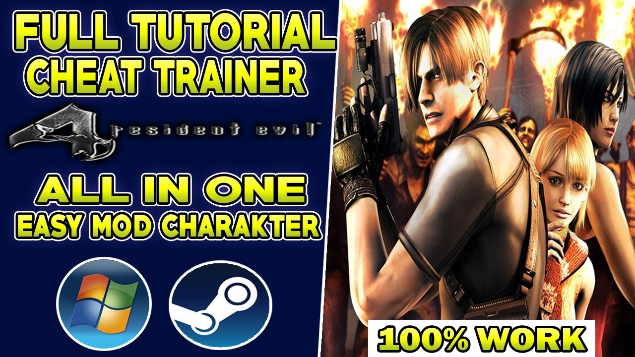 FULL TUTORIAL CHEAT TRAINER RESIDENT EVIL 4 HD - ALL IN ONE CHEAT + EASY MOD CHARAKTER FIX 100% WORK