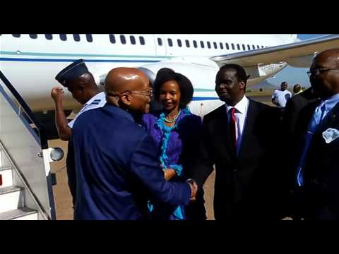 President Jacob Zuma arrives in Lesotho for the Prime Minister's Inauguration