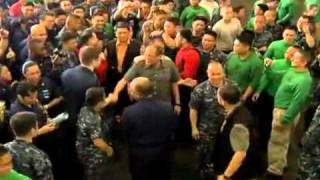 USS Carl Vinson Boss Samuel Perez & VIP 14/5/11 He Threw MaFish Laden  أسامة بن لادن