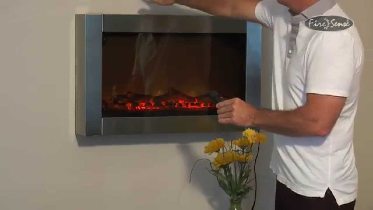 Stainless Steel Wall Mounted Electric Fireplace Instructional Item 60758