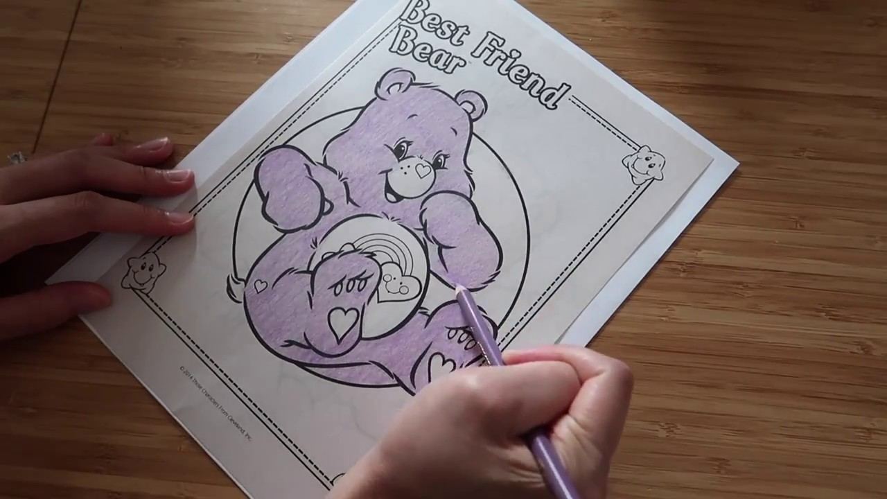 Watch Me Color Best Friend Bear Care Bears Coloring Book Page With