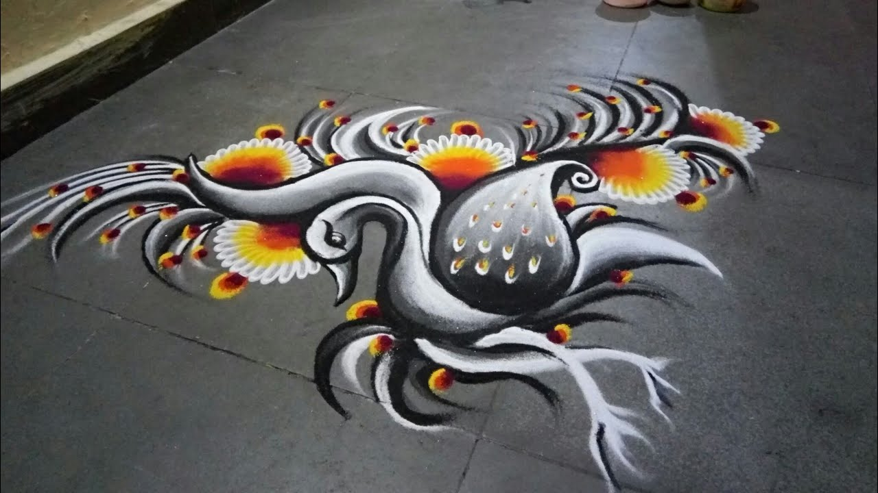 Peacock rangoli in black and white shade