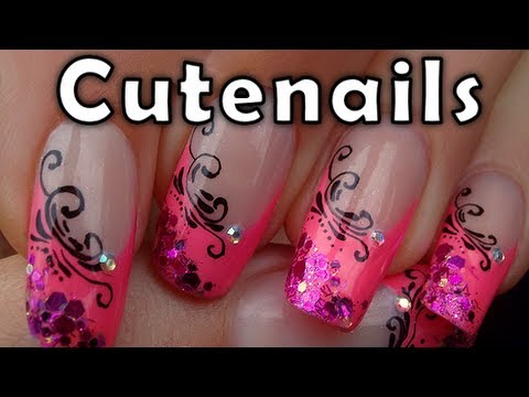 Pink French Manicure With Arabesque Designs By Cute Nails