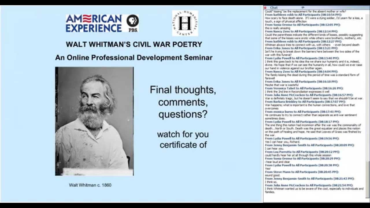whitman and the civil war This book presents the war of attempted secession through the eyes of america's great poet it consists of letters, dispatches, articles, and prose selections from specimen days (1882), whitman's quasi-autobiography in addition, all of whitman's civil war poems are included, some interspersed.