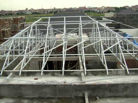gambar rangka atap baja ringan limasan jasa pemasangan galvalum kencana truss