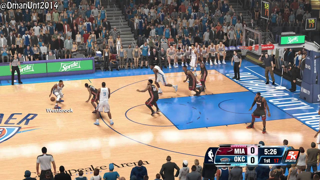 playstation 4 nba 2k14 hd game play miami heat vs okc