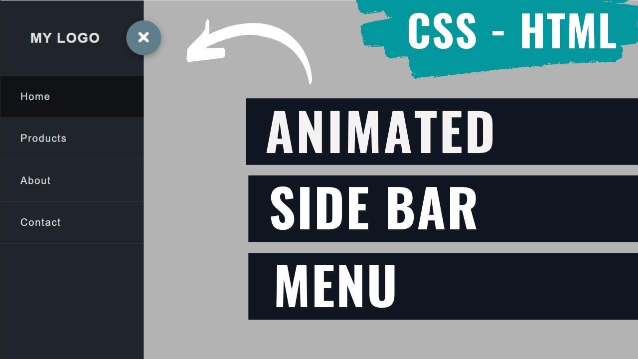 Sidebar Menu Animated Using HTML and CSS