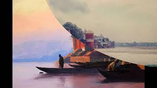 ganga river painting through various colurs