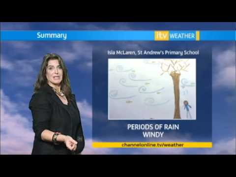 GBG's Sue Markham reads the weather at Channel Television