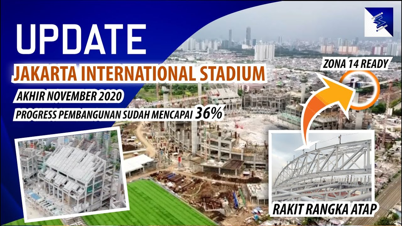 Bentuk Fisik Tribun Sudah Terlihat !!!, Rangka Atap Dirakit, Update Jakarta International Stadium