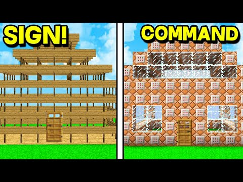 COMMAND BLOCK HOUSE VS SIGN HOUSE! - MINECRAFT BASE CHALLENGE!