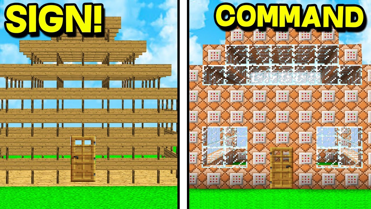 Command Block House Vs Sign House  - Minecraft Base Challenge