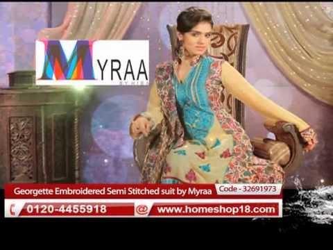 412fce6e56 HomeShop18.com - Semi Stitched suit by Myraa - YouTube