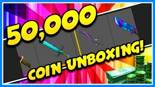 50,000 COIN HUGE EXOTIC UNBOXING IN ROBLOX ASSASSIN!! | CAN WE GET THE NEW MYTHIC KNIFE!?