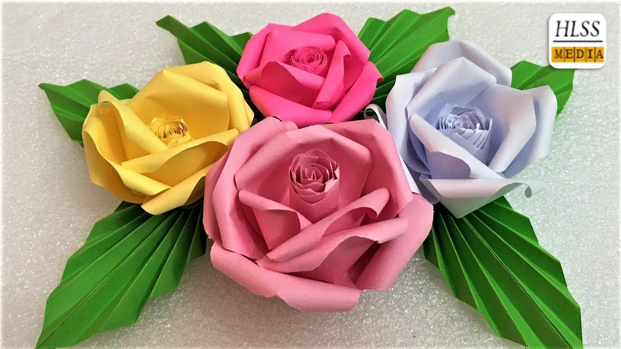 how to make rose flower with craft paper