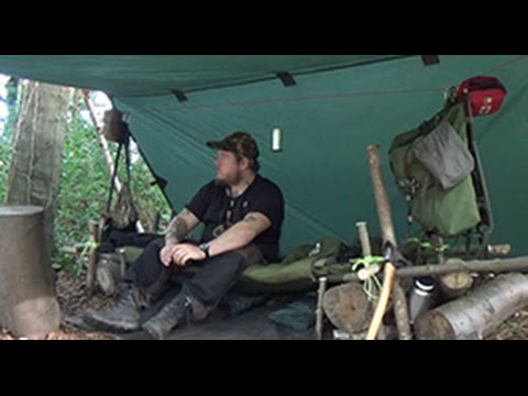 Bushcraft Canvas Stretcher Bed Build, Wild Fruit One Pot Pie and Overnight Camp