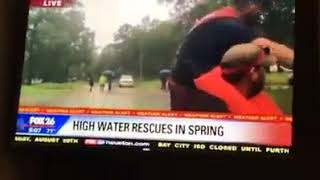 Reporter thinks guys in rescue boat doing shots are