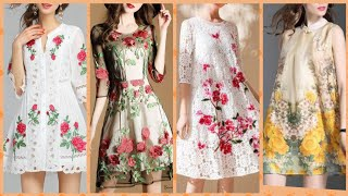 Outstanding stylish flowers embroidered tishu A line knee length dress for girls party wear dress