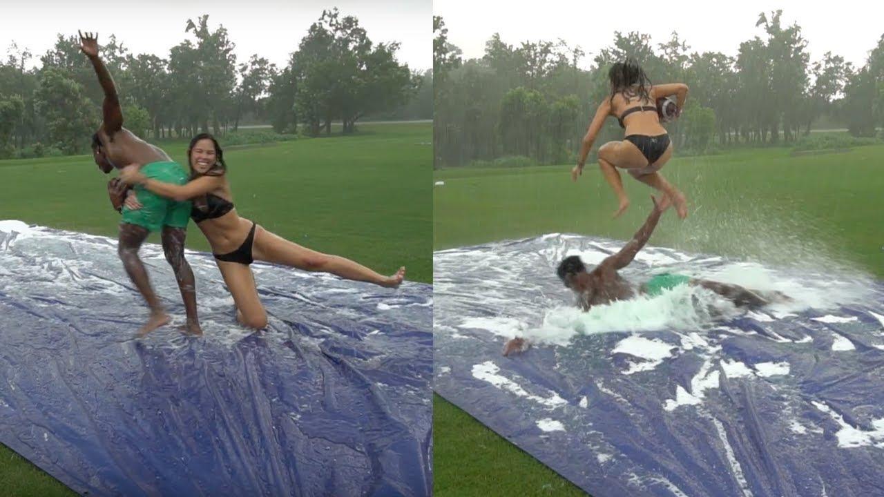slip-n-slide-tackle-football-vs-my-girlfriend-she-hurdled-me