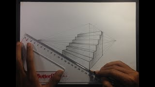 How To Draw Stairs In Two Point Perspective - Basic