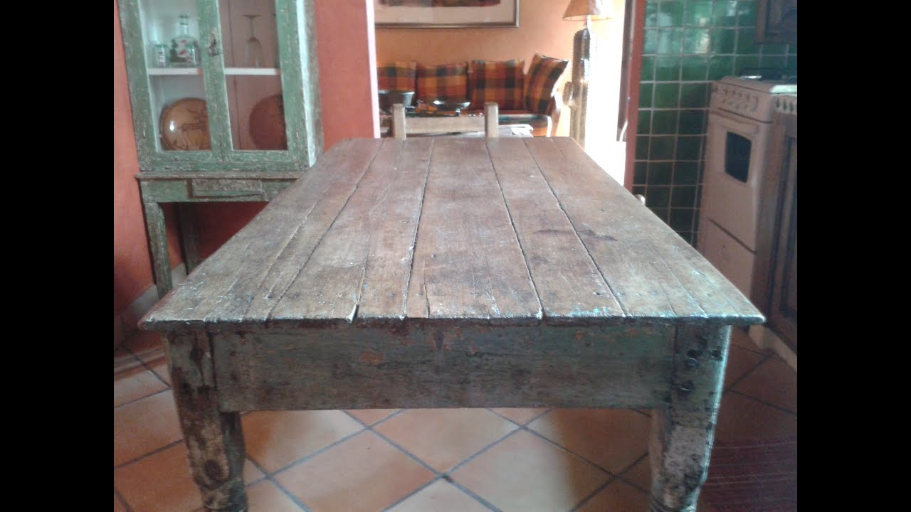 original rustic small kitchen table, antique - youtube