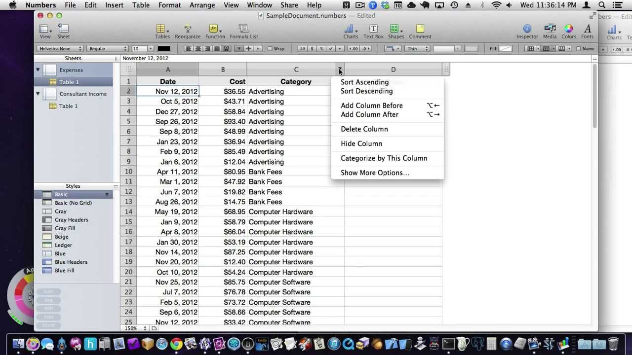 Apple's Numbers: Some spreadsheet basics, simple expense sheet ...