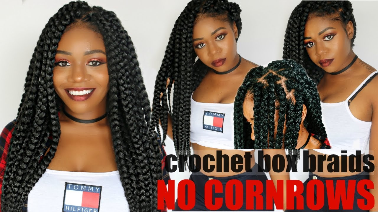 Crochet Box Braids No Cornrows! New Method! Long Large 90?s Braids ...