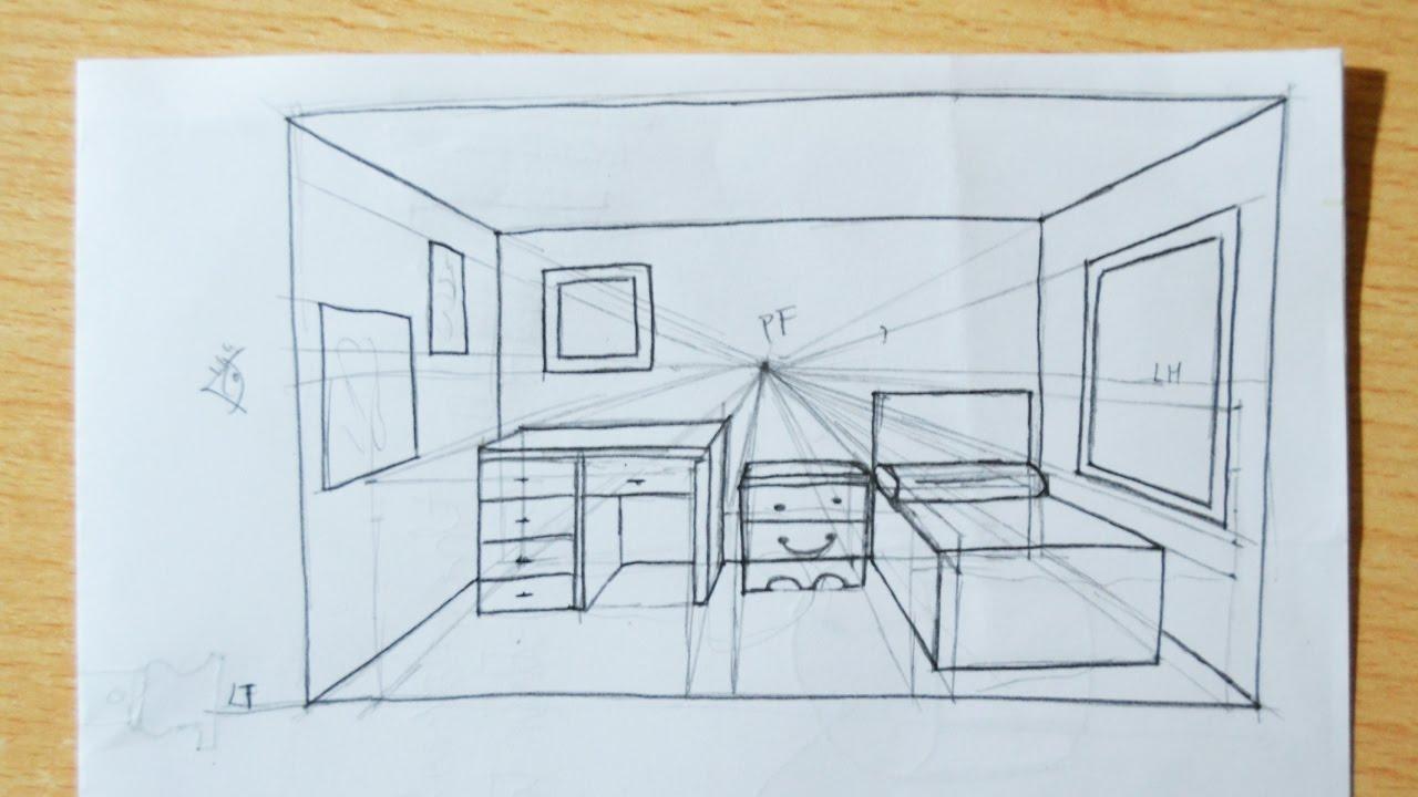 Dibujando objetos en perspectiva c nica frontal directo youtube - Habitacion en perspectiva conica ...