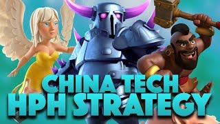 China Tech: HPH Strategy In War For TH9 | 1 Pekka Walk + Hogs Attack | Clash Of Clans