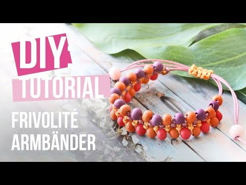 Schmuck machen: Frivolité Macramé mit Holz Perlen ♥ DIY