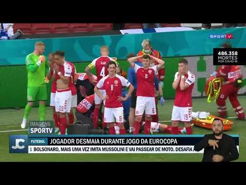 Eriksen, jogador da Dinamarca, desmaia em campo durante a partida da Eurocopa