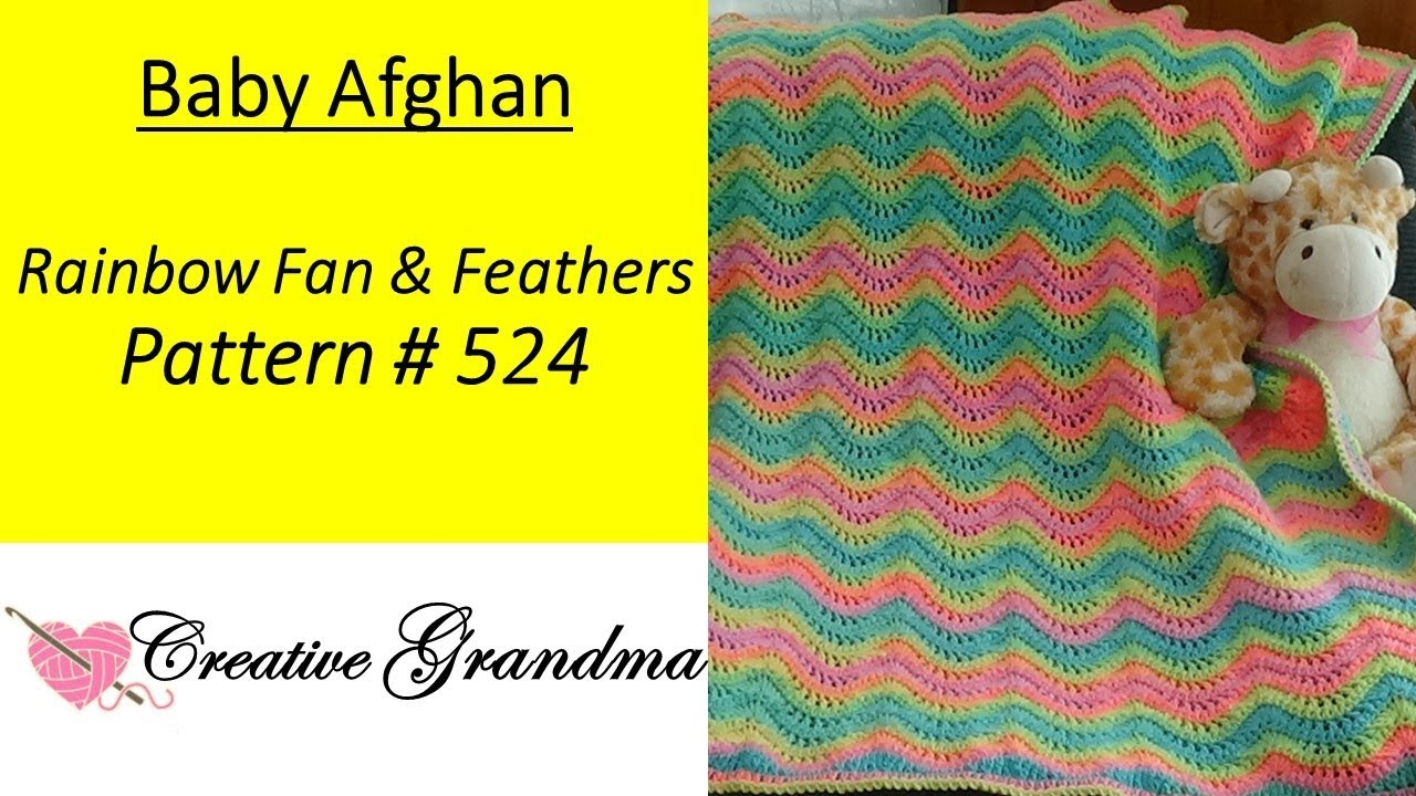 Rainbow Fan And Feathers Baby Afghan Pattern 524 Crochet