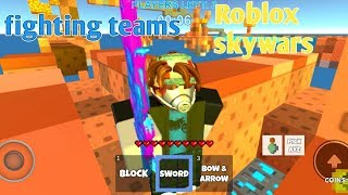 Roblox SkyWarS lutando equipes, mas...